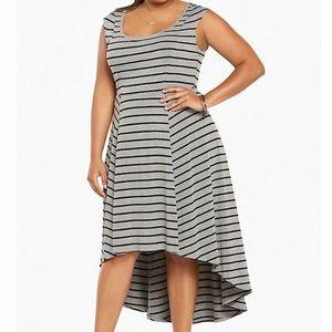 Torrid Striped Jersey Hi-Lo Dress Gray